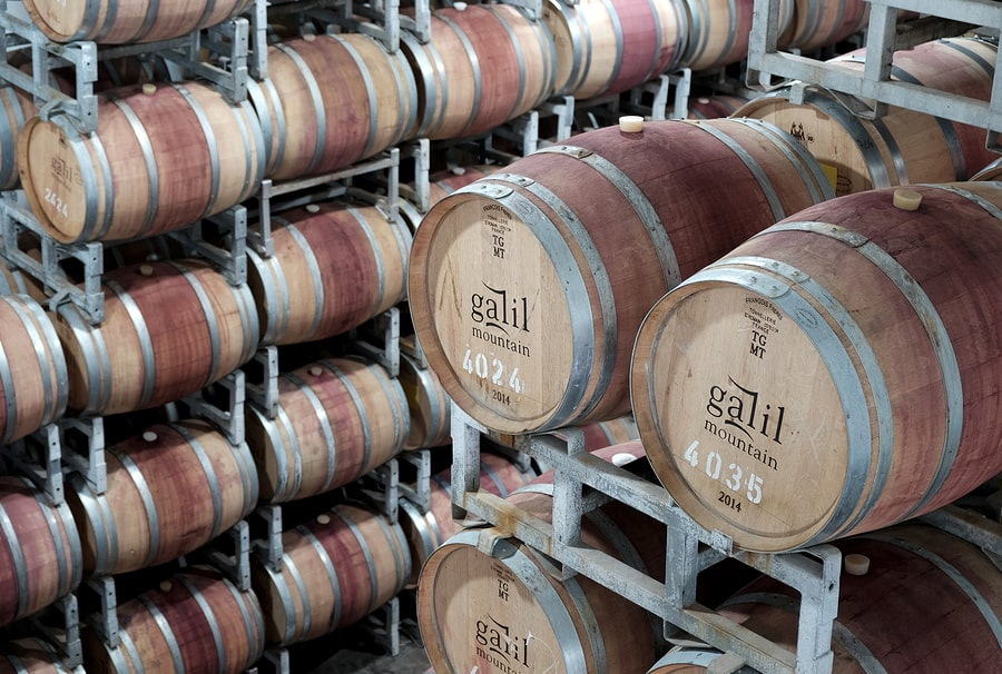Drums of wine at the warehouse of the Galil winery